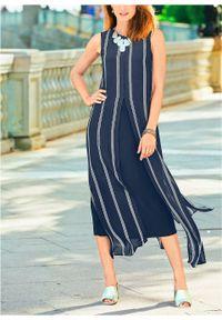 Sukienka szyfonowa bonprix ciemnoniebiesko-biały w paski. Kolor: niebieski. Materiał: szyfon. Wzór: paski