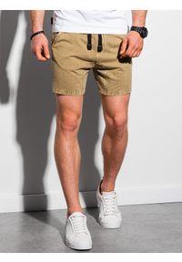 Ombre Clothing - Krótkie spodenki męskie dresowe W293 - brązowe - XXL. Kolor: brązowy. Materiał: dresówka. Długość: krótkie. Sezon: lato