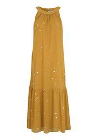 Cellbes Szyfonowa sukienka w srebrne kropki żółty female żółty 50/52. Kolor: żółty. Materiał: szyfon. Długość rękawa: bez rękawów. Wzór: kropki. Styl: klasyczny, elegancki. Długość: maxi