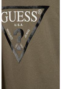 Brązowy t-shirt Guess z nadrukiem, na co dzień, casualowy