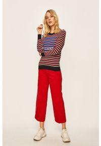Czerwone spodnie materiałowe TOMMY HILFIGER z podwyższonym stanem, na co dzień, casualowe