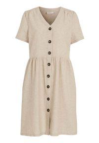 Freequent Sukienka z mieszanki lnu Alville kremowy female beżowy L (42). Typ kołnierza: dekolt w serek. Kolor: beżowy. Materiał: len. Styl: elegancki