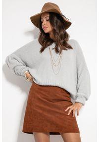 Fobya - Milutki Sweter Oversize - Szary. Kolor: szary. Materiał: elastan, nylon, wiskoza, poliamid