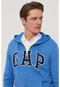 Niebieska bluza rozpinana GAP z kapturem, casualowa, z aplikacjami