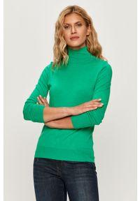 Zielony sweter Patrizia Pepe na co dzień, długi, z golfem