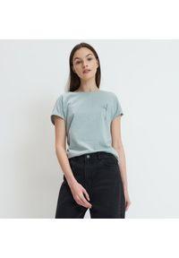 Zielony t-shirt Mohito z napisami