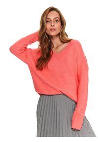 Różowy sweter TOP SECRET długi, z długim rękawem