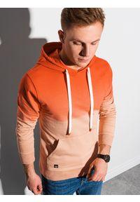 Ombre Clothing - Bluza męska z kapturem B1148 - jasnopomarańczowa - XXL. Typ kołnierza: kaptur. Kolor: pomarańczowy. Materiał: bawełna