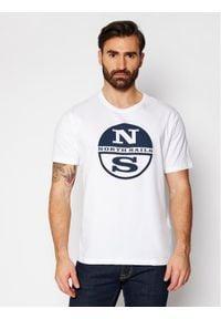 North Sails T-Shirt Graphic Biały Regular Fit. Kolor: biały