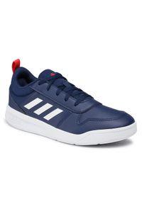 Adidas - Buty adidas - Tensaur K S24035 Dkblue/Ftwwht/Actred. Okazja: na co dzień. Zapięcie: sznurówki. Kolor: niebieski. Materiał: skóra. Szerokość cholewki: normalna. Styl: klasyczny, casual