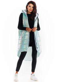 Miętowa kurtka pikowana Awama z kapturem #1