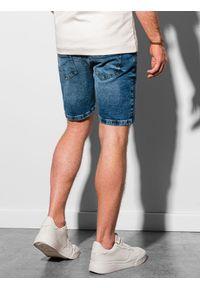 Ombre Clothing - Krótkie spodenki męskie jeansowe W308 - niebieskie - XXL. Kolor: niebieski. Materiał: jeans. Długość: krótkie. Sezon: wiosna, lato. Styl: klasyczny