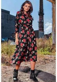 Awama - Sukienka midi w modne wzory z paskiem. Okazja: do pracy. Długość: midi