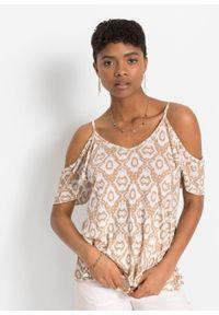 Shirt cold-shoulder LENZING™ ECOVERO™ bonprix latte macchiatto -biały w deseń paisley. Kolor: brązowy. Długość rękawa: na ramiączkach. Wzór: paisley