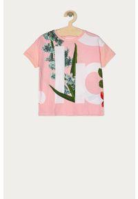 Różowa bluzka z krótkim rękawem Desigual na co dzień, casualowa