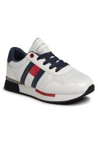 Sneakersy TOMMY HILFIGER - Low Cut Lace-Up Sneaker T3B4-30483-0733X336 M White/Blue X336. Okazja: na uczelnię, na spacer. Kolor: biały. Materiał: skóra, materiał. Szerokość cholewki: normalna