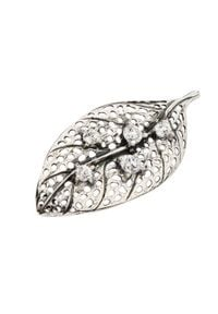 Polcarat Design - Broszka srebrna z cyrkoniami B 130. Materiał: srebrne. Kolor: srebrny. Wzór: aplikacja. Kamień szlachetny: cyrkonia