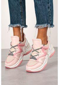 Casu - Różowe buty sportowe sneakersy sznurowane casu 20g10/p. Kolor: różowy