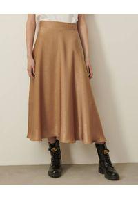 Marella - MARELLA - Satynowa spódnica Nid. Kolor: beżowy. Materiał: satyna. Wzór: gładki