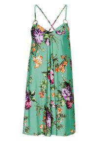 Sukienka w kwiaty bonprix turkusowy w kwiaty. Kolor: zielony. Długość rękawa: na ramiączkach. Wzór: kwiaty. Sezon: lato