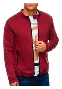 Czerwona bluza Ombre Clothing bez kaptura #6