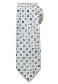 Stylowy Krawat Męski - Motyw Florystyczny, Kwiaty - Chattier, Biało-Niebieski. Kolor: niebieski, biały, wielokolorowy. Materiał: tkanina. Wzór: grochy. Styl: elegancki