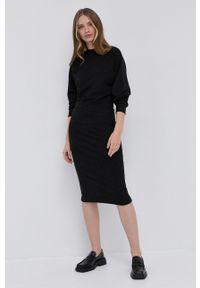 BOSS - Boss - Sukienka z domieszką wełny Ecosy. Kolor: szary. Materiał: wełna. Długość rękawa: długi rękaw. Typ sukienki: dopasowane