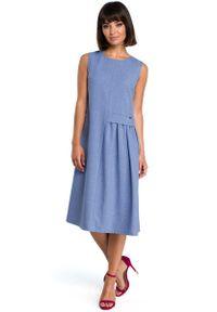 Niebieska sukienka letnia MOE midi