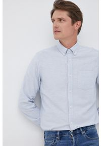 GAP - Koszula. Typ kołnierza: button down. Kolor: niebieski. Materiał: tkanina. Długość rękawa: długi rękaw. Długość: długie. Wzór: gładki