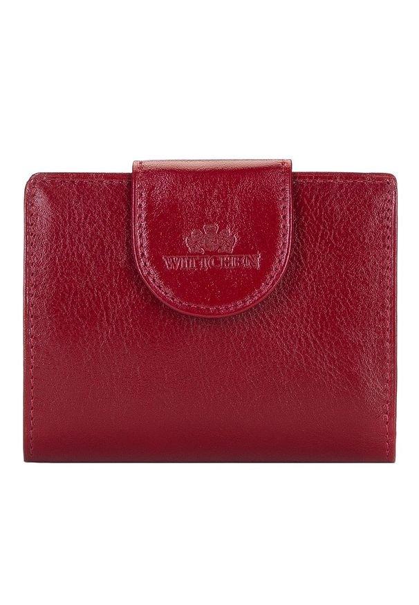 Wittchen - Damski portfel skórzany z elegancką napą. Kolor: czerwony. Materiał: skóra