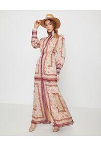 RAQUEL DINIZ - Sukienka ze wzorem Marellla. Kolor: czerwony. Materiał: jedwab. Wzór: haft, kwiaty, aplikacja. Długość: maxi