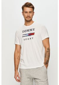 Biały t-shirt Tommy Sport z nadrukiem, sportowy, na co dzień