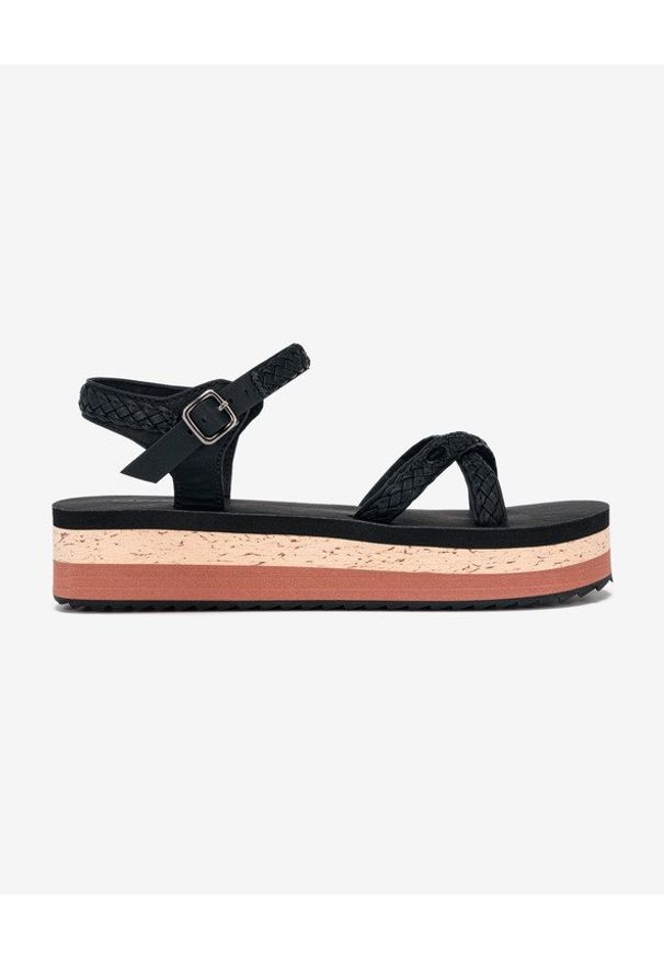 Czarne sandały O'Neill z paskami, w kolorowe wzory
