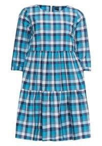 Sukienka w kratę bonprix niebiesko-biały w kratę. Kolor: niebieski