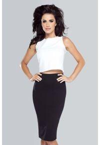 IVON - Biała Elegancka Bluzka Crop Top. Kolor: biały. Materiał: wiskoza, elastan. Styl: elegancki
