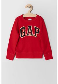 Czerwona bluza GAP casualowa, bez kaptura, na co dzień, z aplikacjami