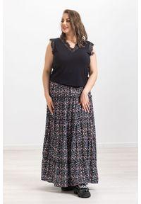 Czarna spódnica Moda Size Plus Iwanek w kwiaty, krótka, na wiosnę