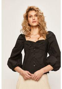 Czarna bluzka Pinko z dekoltem karo, raglanowy rękaw