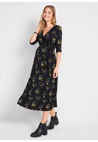 Sukienka ciążowa i do karmienia bonprix czarny w kwiaty. Kolekcja: moda ciążowa. Kolor: czarny. Wzór: kwiaty. Długość: midi