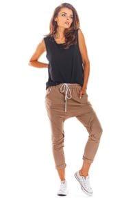 Infinite You - Dresowe Spodnie z Obniżonym Krokiem - Beżowe. Kolor: beżowy. Materiał: dresówka