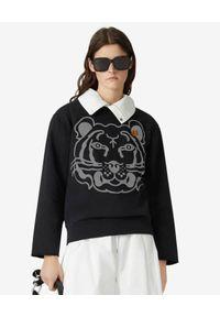 Kenzo - KENZO - Czarna bluza z nadrukiem K-Tiger. Kolor: czarny. Materiał: bawełna. Długość rękawa: długi rękaw. Długość: długie. Wzór: nadruk. Styl: klasyczny