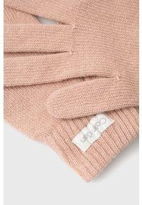 Calvin Klein - Rękawiczki z domieszką wełny. Kolor: różowy. Materiał: wełna