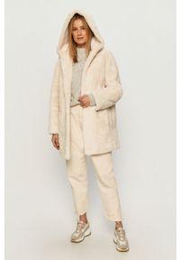 Biała kurtka DKNY na co dzień, z kapturem, casualowa