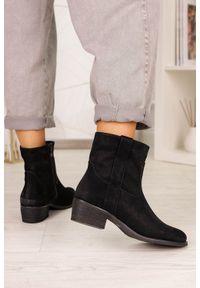 Casu - Czarne botki kowbojki na niskim słupku casu g20x5/b. Kolor: czarny. Obcas: na słupku