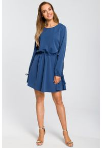 e-margeritka - Sukienka rozkloszowana z długim rękawem niebieska - xl. Kolor: niebieski. Materiał: poliester, materiał, elastan. Długość rękawa: długi rękaw. Styl: boho, elegancki