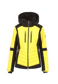 Descente - Kurtka narciarska DESCENTE CICILY. Kolor: żółty. Materiał: lycra, materiał, tkanina, futro, puch. Technologia: Thinsulate. Sport: narciarstwo