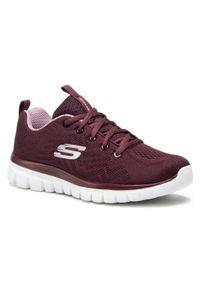 Czerwone buty do fitnessu skechers na co dzień, z cholewką