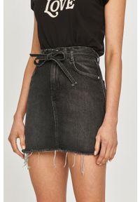 Pepe Jeans - Spódnica jeansowa Rachel. Okazja: na co dzień. Stan: podwyższony. Kolor: czarny. Styl: casual