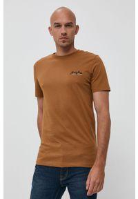 Jack & Jones - T-shirt bawełniany. Kolor: brązowy. Materiał: bawełna. Wzór: gładki, aplikacja