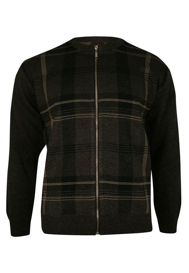 Brązowy sweter Kings w geometryczne wzory, ze stójką